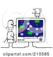 Royalty Free RF Clipart Illustration Of Stick Person Children Playing A Computer Game by NL shop