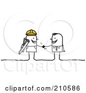 Poster, Art Print Of Stick Person Business Man Shaking Hands With A Contracted Builder