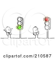 Royalty Free RF Clipart Illustration Of Stick Person Business Men Looking At Red And Green Lights by NL shop