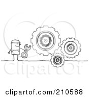 Royalty Free RF Clipart Illustration Of A Stick Person Man Repairing Gear Cogs