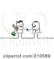 Royalty Free RF Clipart Illustration Of A Stick Person Business Man Shaking Hands With A Contracted Artist by NL shop