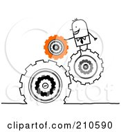Royalty Free RF Clipart Illustration Of A Stick Person Business Man Directing Turning Gears
