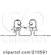 Poster, Art Print Of Stick Person Business Man Shaking Hands With A Colleague