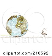 Royalty Free RF Clipart Illustration Of A Stick Person Business Man Looking At A Doodle Globe by NL shop