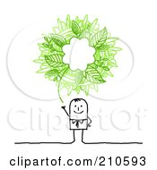 Royalty Free RF Clipart Illustration Of A Stick Person Business Man With A Green Ecology Scribble Thought Balloon