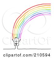 Happy Stick Person Man Standing At The End Of A Rainbow