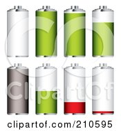 Royalty Free RF Clipart Illustration Of A Digital Collage Of White Green Red And Gray Batteries At Different Charge Levels by michaeltravers