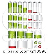 Royalty Free RF Clipart Illustration Of A Digital Collage Of Different Sized Batteries At Different Charge Levels by michaeltravers
