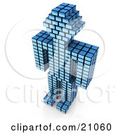 Blue Cubic Robot Made Of Stacked Cubes Standing Over A White Background