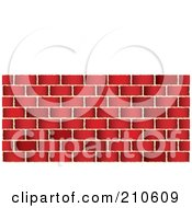 Royalty Free RF Clipart Illustration Of A Red Brick Wall Under White Space by michaeltravers