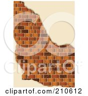 Royalty Free RF Clipart Illustration Of A Edges Of Plaster Around A Brown Brick Wall by michaeltravers