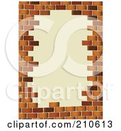 Royalty Free RF Clipart Illustration Of A Border Of Brown Bricks Around Beige Text Space by michaeltravers