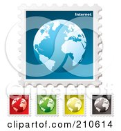 Royalty Free RF Clipart Illustration Of A Digital Collage Of Colorful Internet Stamps by michaeltravers