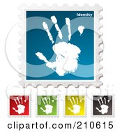 Royalty Free RF Clipart Illustration Of A Digital Collage Of Colorful Identity Stamps by michaeltravers