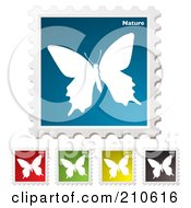 Royalty Free RF Clipart Illustration Of A Digital Collage Of Colorful Butterfly Nature Stamps by michaeltravers