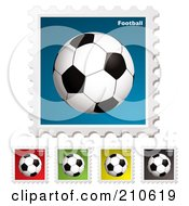 Digital Collage Of Colorful Soccer Football Stamps
