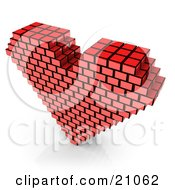 Red Passion Heart Made Of Cubes Over A White Background