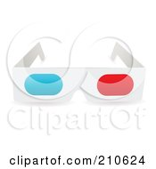 Royalty Free RF Clipart Illustration Of A White Pair Of Paper 3d Glasses by michaeltravers
