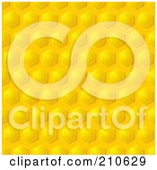 Royalty Free RF Clipart Illustration Of A Golden Honeycomb Pattern Background With Diagonal Rows