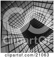 Clipart Illustration Of A Reflective Cubic Surface Made Of Black And Gray Cubes