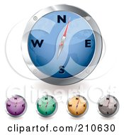 Royalty Free RF Clipart Illustration Of A Digital Collage Of Blue Purple Green Orange And Gray Compasses by michaeltravers