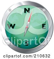 Royalty Free RF Clipart Illustration Of A Green And Chrome Map Compass by michaeltravers