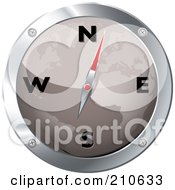 Royalty Free RF Clipart Illustration Of A Gray And Chrome Map Compass by michaeltravers