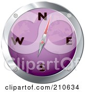 Royalty Free RF Clipart Illustration Of A Purple And Chrome Map Compass by michaeltravers