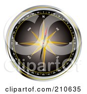 Royalty Free RF Clipart Illustration Of A Black Compass With A Yellow Star by michaeltravers