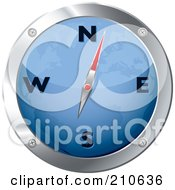 Royalty Free RF Clipart Illustration Of A Blue And Chrome Map Compass by michaeltravers