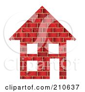 Royalty Free RF Clipart Illustration Of A Red Brick Home With Three Windows And Door