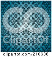 Royalty Free RF Clipart Illustration Of A Blue Seamless Gothic Background With A Black Floral Pattern