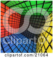 The Interior Of A Cubed Buildimg Made Of Green Black Red Blue And Yellow Cubes