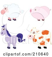 Royalty Free RF Clipart Illustration Of A Digital Collage Of A Cute Barnyard Sheep Pig Horse And Cow In Profile by yayayoyo