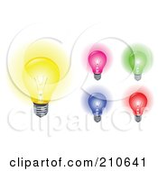 Royalty Free RF Clipart Illustration Of A Digital Collage Of Yellow Pink Green Blue And Red Light Bulbs Aglow