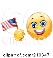 Royalty Free RF Clipart Illustration Of A Yellow Smiley Face Waving An American Flag