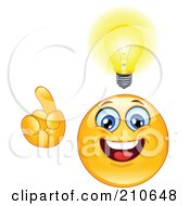 Royalty Free RF Clipart Illustration Of A Yellow Smiley Face With A Glowing Light And An Idea