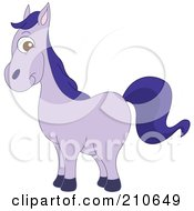 Cute Barnyard Purple Horse In Profile