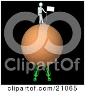 Clipart Illustration Of An Astronaut Sticking A Flag In The Dirt Of A Planet Two Aliens On The Bottom Of The Planet by 3poD