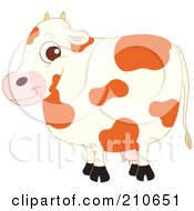 Royalty Free RF Clipart Illustration Of A Cute Barnyard Spotted Cow In Profile by yayayoyo