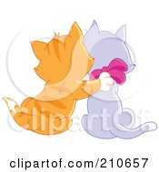 Royalty Free RF Clipart Illustration Of A Rear View Of A Ginger Kitten Cuddling With A Purple Kitten