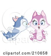 Cute Blue Kitten Boy Kissing A Purple Kitten Girl On The Cheek