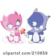 Royalty Free RF Clipart Illustration Of A Sweet Blue Kitten Giving A Flower To A Pink Kitten
