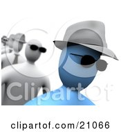 Clipart Illustration Of A Blue Person Wearing Sunglasses And A Hat Walking In A Line