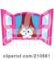 Royalty Free RF Clipart Illustration Of A Cute Kitten In Awe Looking Out Through A Window by yayayoyo