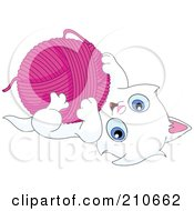 Royalty Free RF Clipart Illustration Of A Cute White Kitten Playing With A Ball Of Pink Yarn