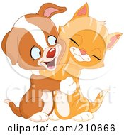 Royalty Free RF Clipart Illustration Of A Cute Ginger Kitten And Puppy Dog Hugging And Smiling