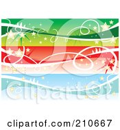 Digital Collage Of Three Colorful Christmas Banners With Stars