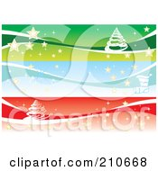 Digital Collage Of Three Christmas Banners With Trees And Stars
