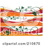 Royalty Free RF Clipart Illustration Of A Digital Collage Of Three Fall Banners With Vines by MilsiArt